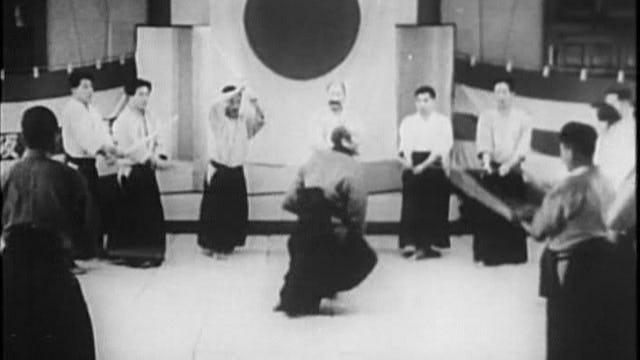 """Morihei Ueshiba Asahi News Demo """"Budo"""": 1935"""