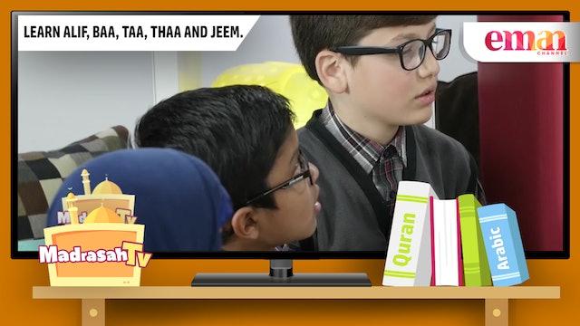 Learn Alif, Baa, Taa, Thaa and Jeem.