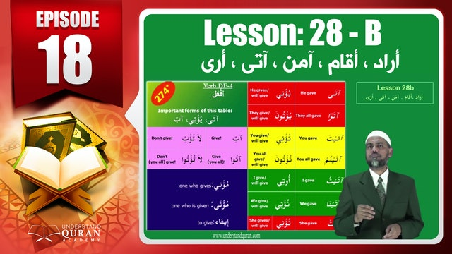 Lesson 28b- English Short course 2-Understand Qur'an