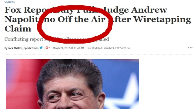 SHOCK! JUDGE NAPOLITANO BANNED ON FOX...