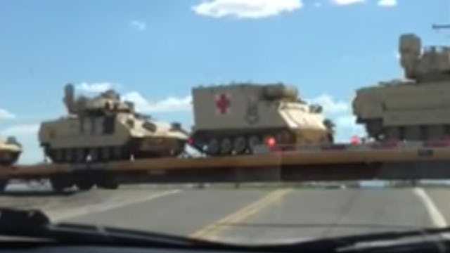 BREAKING: SOMETHING IN THE AIR AS TRAINLOAD OF TANKS MOVE THROUGH ARIZONA