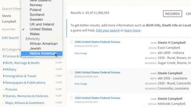 Searching Collections on Ancestry