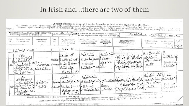 Irish Births, Marriages and Deaths