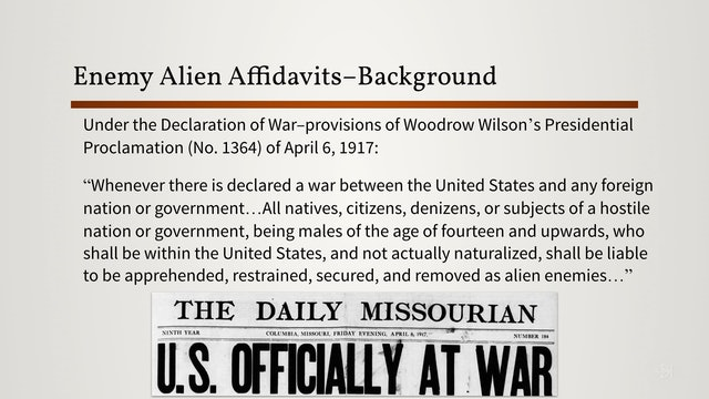 Enemy Alien Registration Affidavits