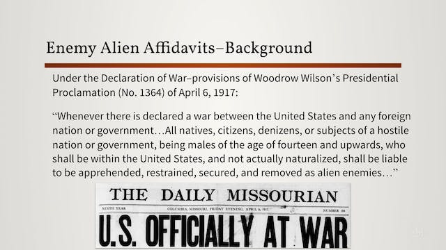 Enemy Alien Registration Affidavits