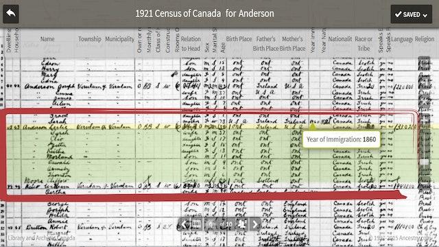 1921 Canadian Census