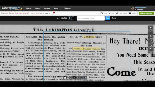 Saving a Newspaper Article to Ancestry