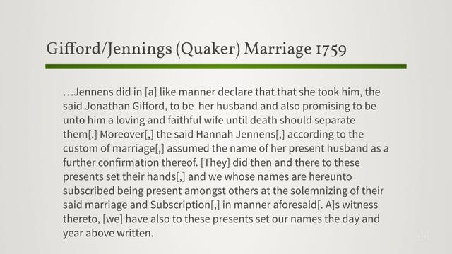 Marriage Records: Colonial Quaker