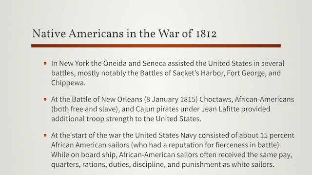 Native American and African-American Service During the War of 1812