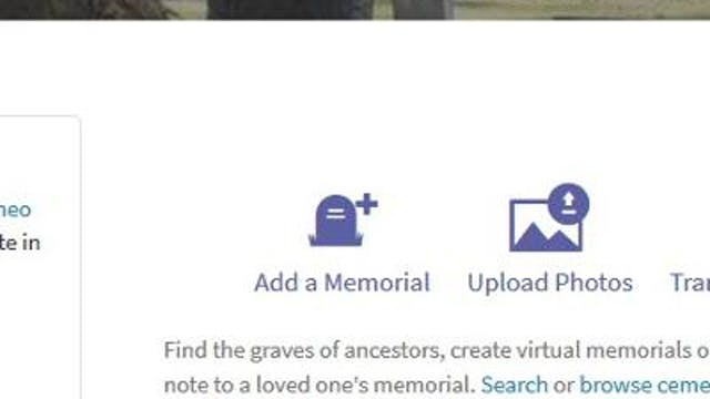 Adding a Memorial From the Home Page
