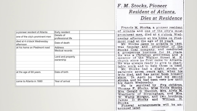 Method for Dissecting Obituaries