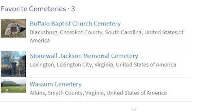 Creating a Favorite Cemeteries List