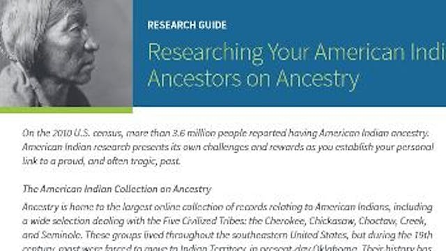 Finding Your Native American Ancestor...