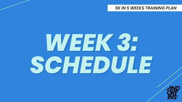 WEEK 3: SCHEDULE