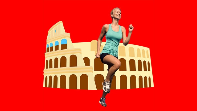 Roberta ran rings around the Roman ruins