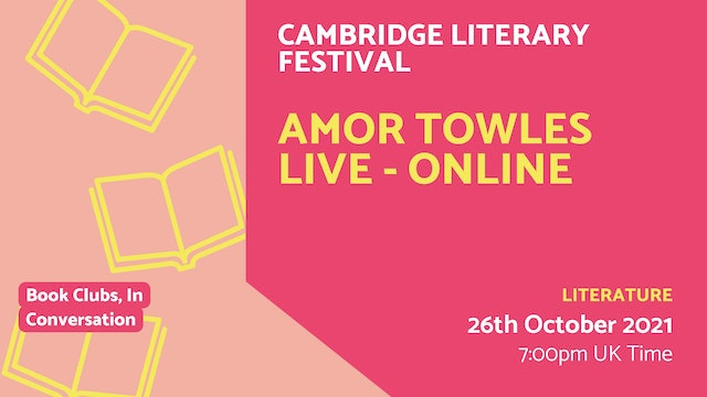 21.10.26 (Tue Oct 26th) | Amor Towles Live - Online