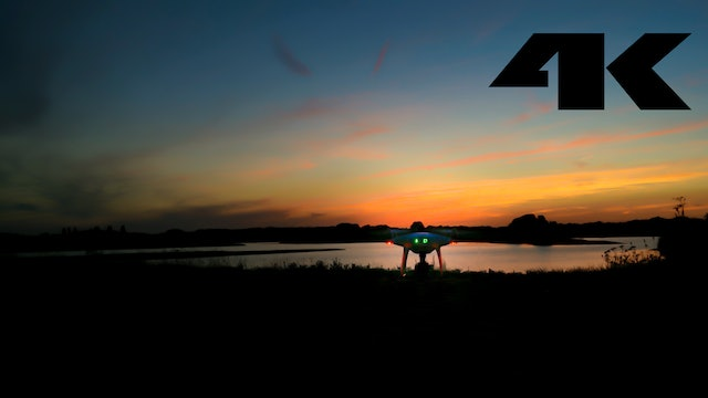 Slow sunset drone flying