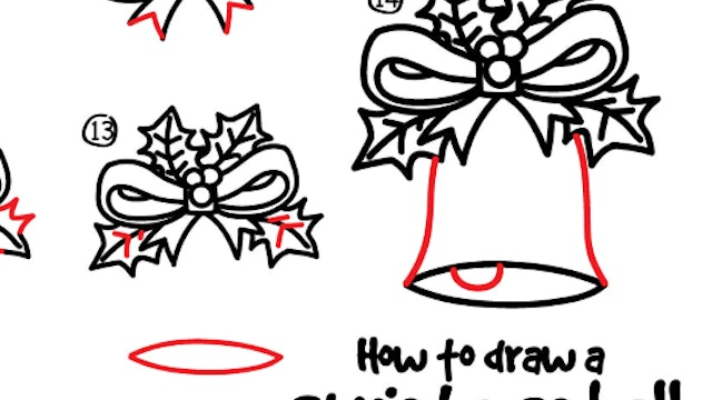 How To Draw A Christmas Bell (PRINTABLE)