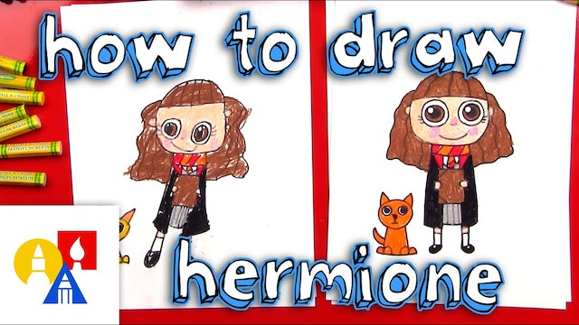 How To Draw A Cartoon Hermione And Crookshanks