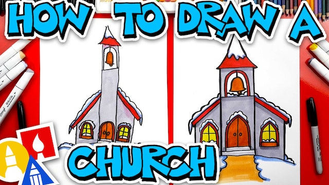 How To Draw A Snowy Church With Bell