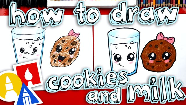 How To Draw Cookies And Milk