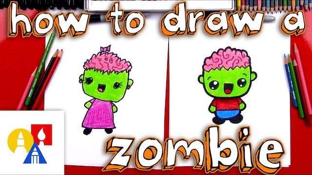 How To Draw A Cartoon Zombie Boy And ...