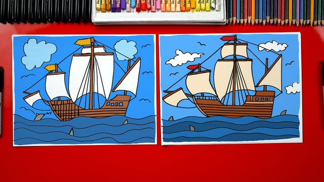 How To Draw A Pilgrim Ship
