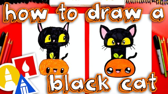 How To Draw A Black Cat And Pumpkin