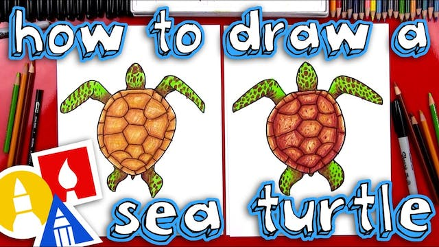 How To Draw A Realistic Sea Turtle Me...