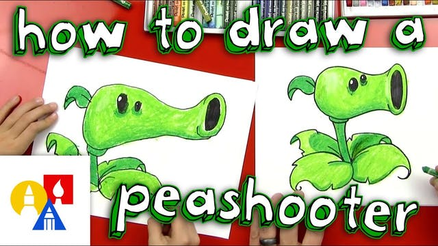 How To Draw A Peashooter From Plants ...