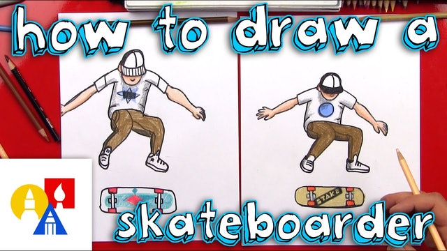 How To Draw A Skateboarder Do A Kickflip