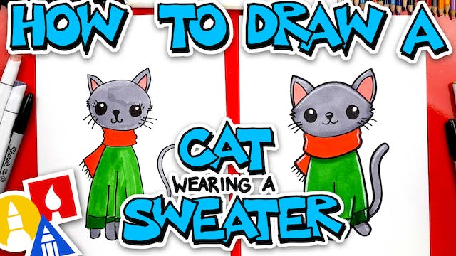 How To Draw A Christmas Cat Wearing A...