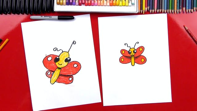 How To Draw A Cartoon Butterfly With ...