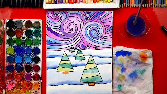 How To Draw And Paint A Winter Landscape