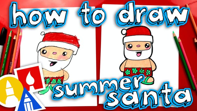 How To Draw Summer Santa