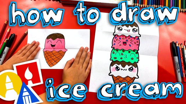 How To Draw A Small And Big Ice Cream With Folding
