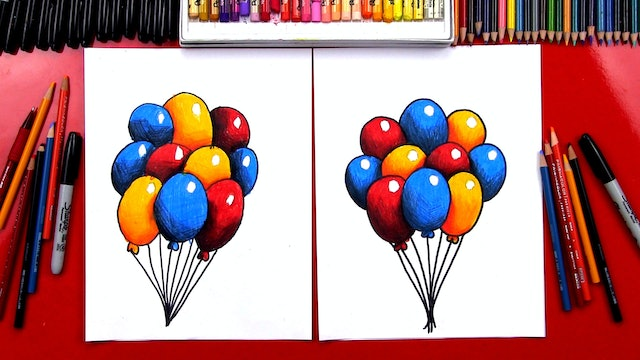 How To Draw Balloons With Shading And Overlapping