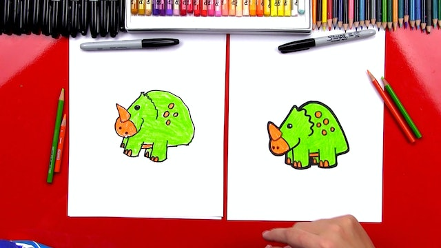 How To Draw A Cartoon Triceratops Dinosaur