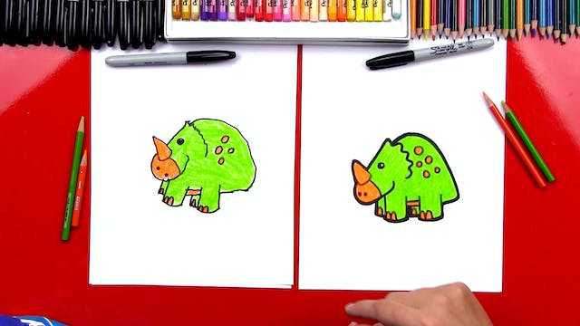How To Draw A Cartoon Triceratops Din...