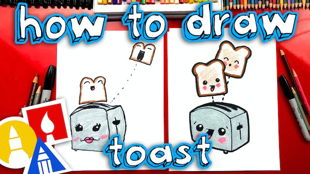 How To Draw Funny Toast With Toaster