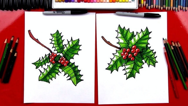 How To Draw Realistic Christmas Holly