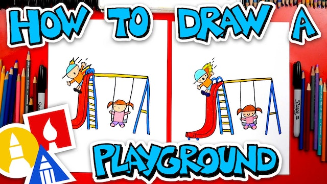 How To Draw A Playground With Slide And Swing