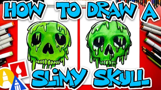 How To Draw A Slimy Skull For Halloween