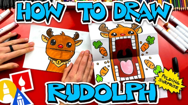 How To Draw Rudolph Puppet - Folding Surprise