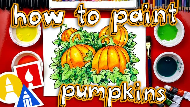 How To Draw And Paint A Pumpkin Patch...