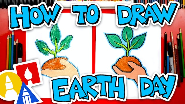 How To Draw A Hand Holding A Plant - Earth Day