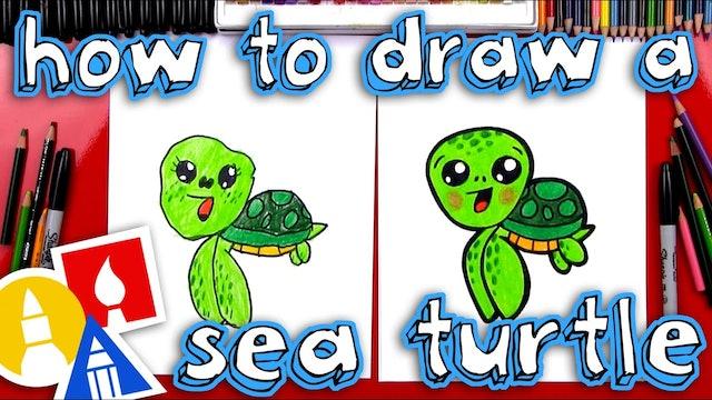 How To Draw A Cartoon Sea Turtle