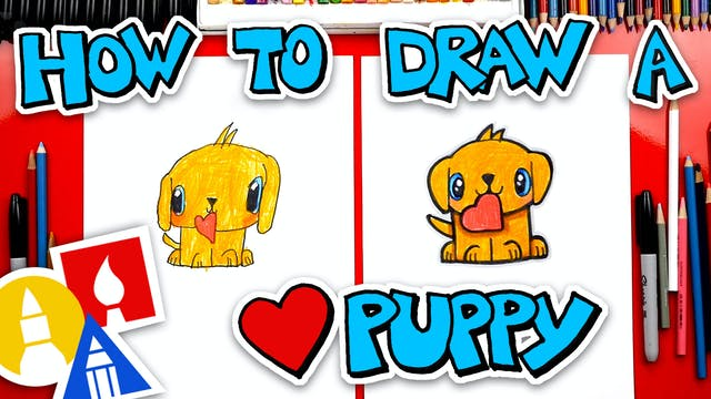 How To Draw A Valentines Puppy + Spot...