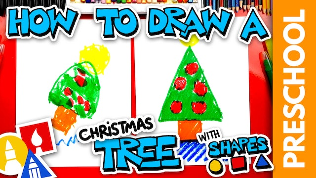 Drawing A Christmas Tree With Shapes - Preschool