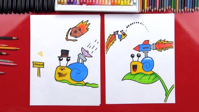 How To Draw A Cartoon Snail With Back...